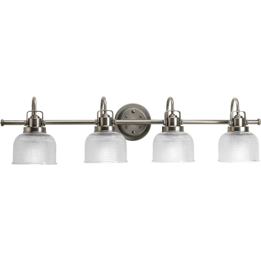 Progress Lighting-P2997-81-Archie - 35.5 Inch Width - 4 Light - Line Voltage - Damp Rated  Antique Nickel Finish with Clear Prismatic Glass