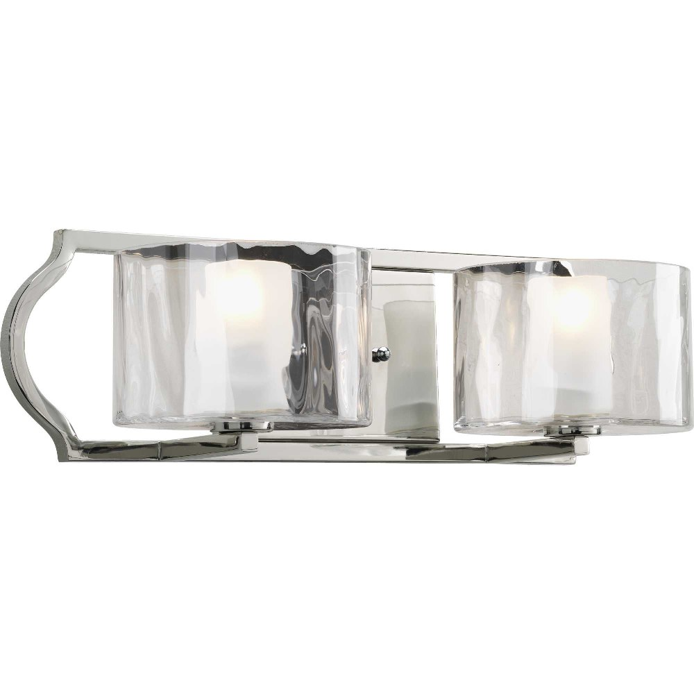 Progress Lighting-P3076-104WB-Caress - 18.4375 Inch Width - 2 Light - Line Voltage - Damp Rated  Polished Nickel Finish with Etched Glass