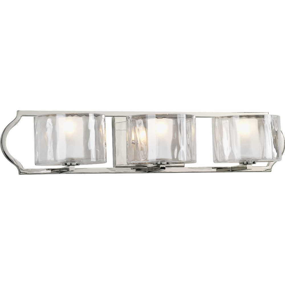 Progress Lighting-P3077-104WB-Caress - 26.5 Inch Width - 3 Light - Line Voltage - Damp Rated  Polished Nickel Finish with Clear Etched Glass