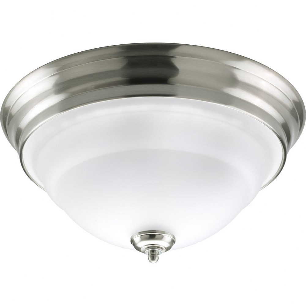 Progress Lighting-P3184-09-Torino - 7.125 Inch Height - Close-to-Ceiling Light - 2 Light - Bowl Shade - Line Voltage - Damp Rated  Brushed Nickel Finish with Etched White Glass
