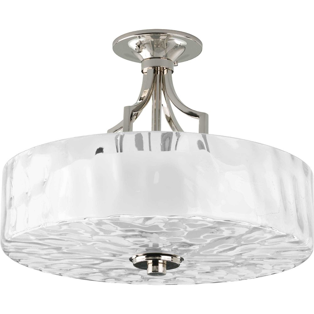Progress Lighting-P3434-104-Caress - 12.125 Inch Height - Close-to-Ceiling Light - 2 Light - Bowl Shade - Line Voltage  Polished Nickel Finish with Clear Water Glass