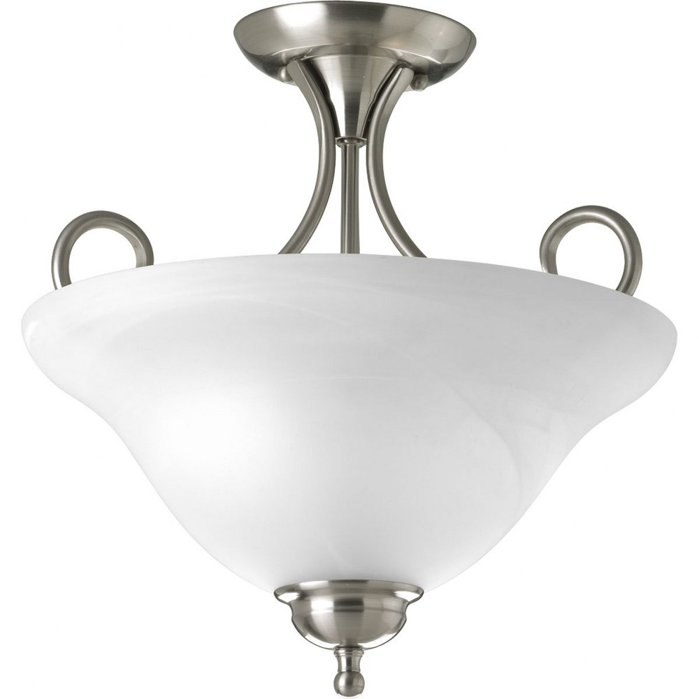 Progress Lighting-P3460-09-Melon - 13.625 Inch Height - Close-to-Ceiling Light - 2 Light - Bowl Shade - Line Voltage  Brushed Nickel Finish with Alabaster Glass