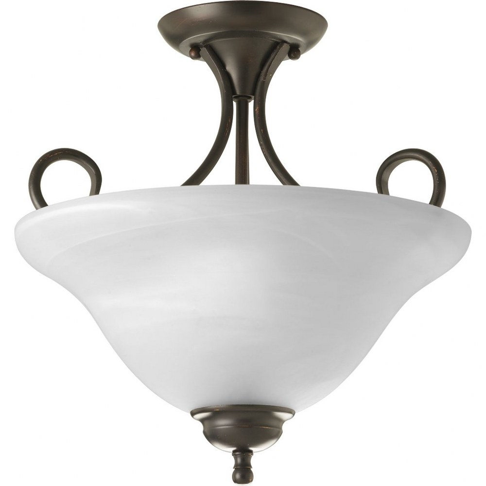 Progress Lighting-P3460-20-Melon - 13.625 Inch Height - Close-to-Ceiling Light - 2 Light - Bowl Shade - Line Voltage  Antique Bronze Finish with Alabaster Glass