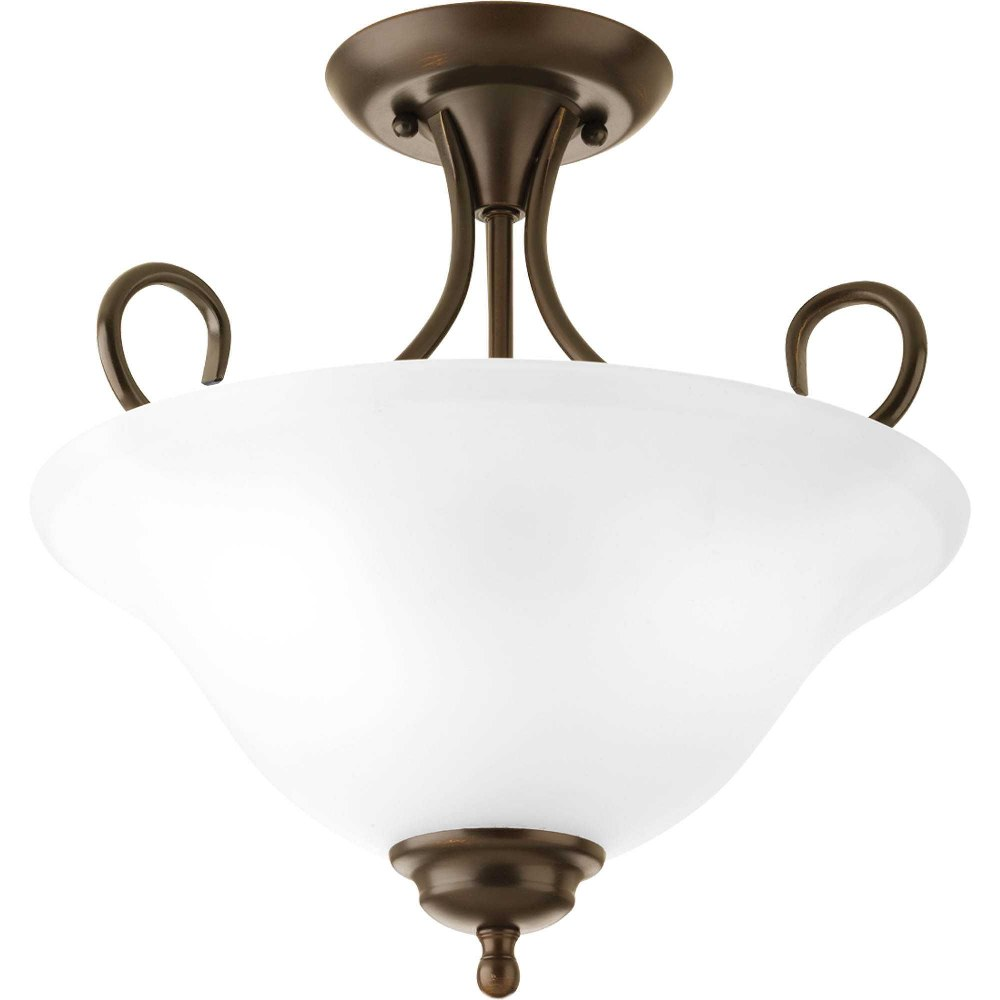 Progress Lighting-P3460-20ET-Melon - 13.625 Inch Height - Close-to-Ceiling Light - 2 Light - Bowl Shade - Line Voltage  Antique Bronze Finish