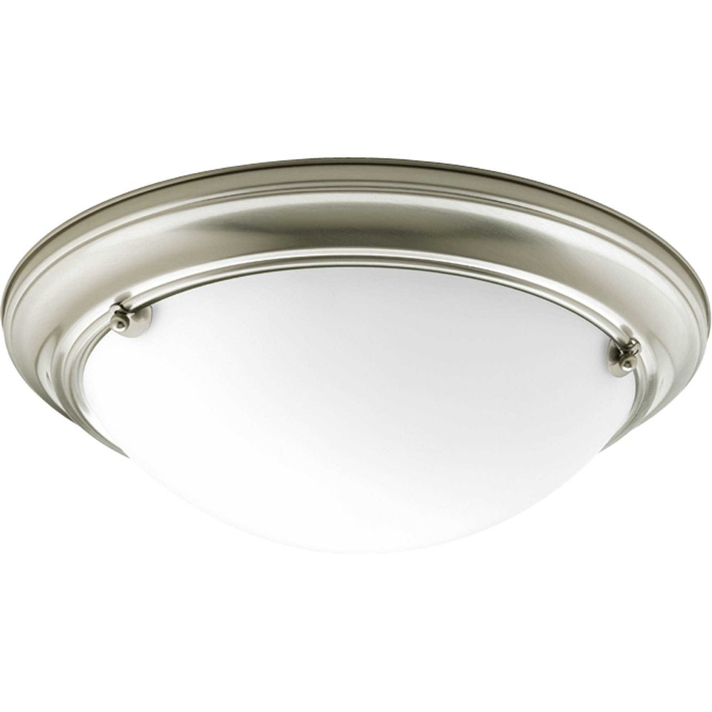 Progress Lighting-P3561-09-Eclipse - 4.625 Inch Height - Close-to-Ceiling Light - 2 Light - Bowl Shade - Line Voltage - Damp Rated  Brushed Nickel Finish with Satin White Glass