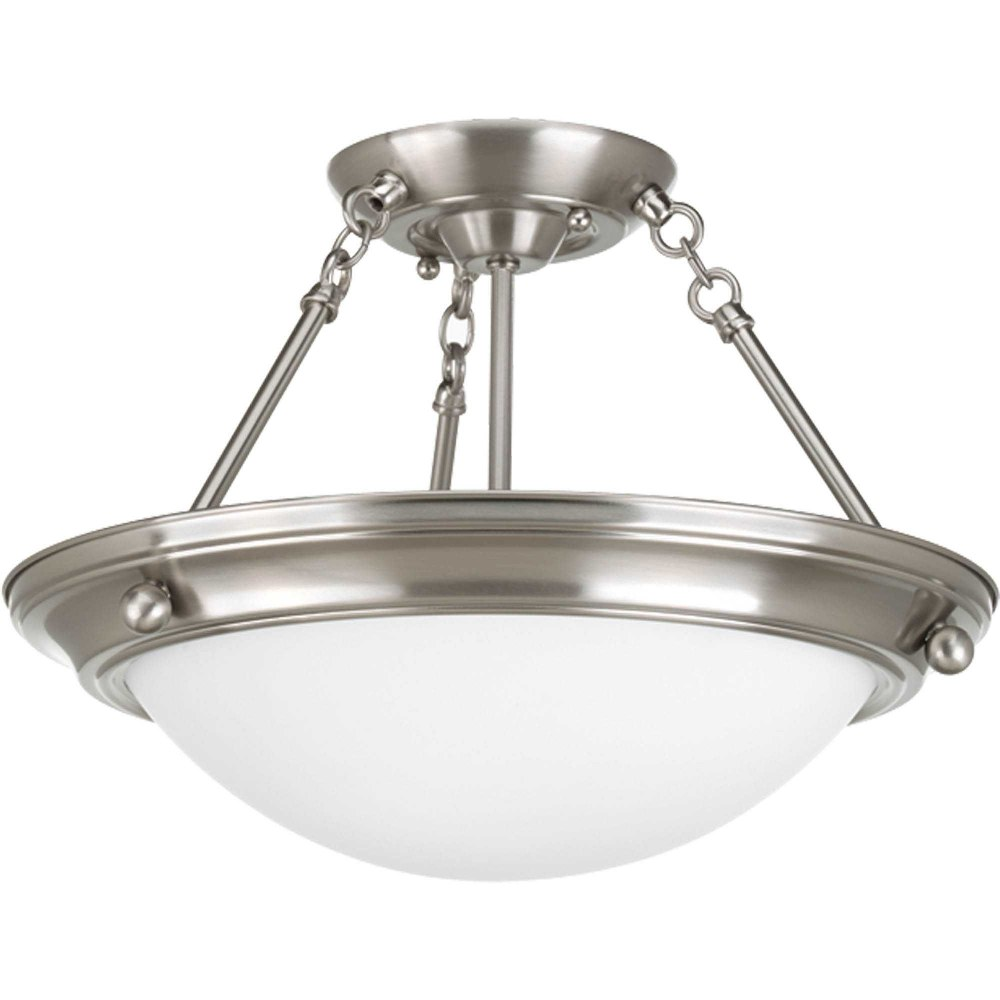 Progress Lighting-P3567-09-Eclipse - 10.625 Inch Height - Close-to-Ceiling Light - 2 Light - Bowl Shade - Line Voltage  Brushed Nickel Finish with Satin White Glass