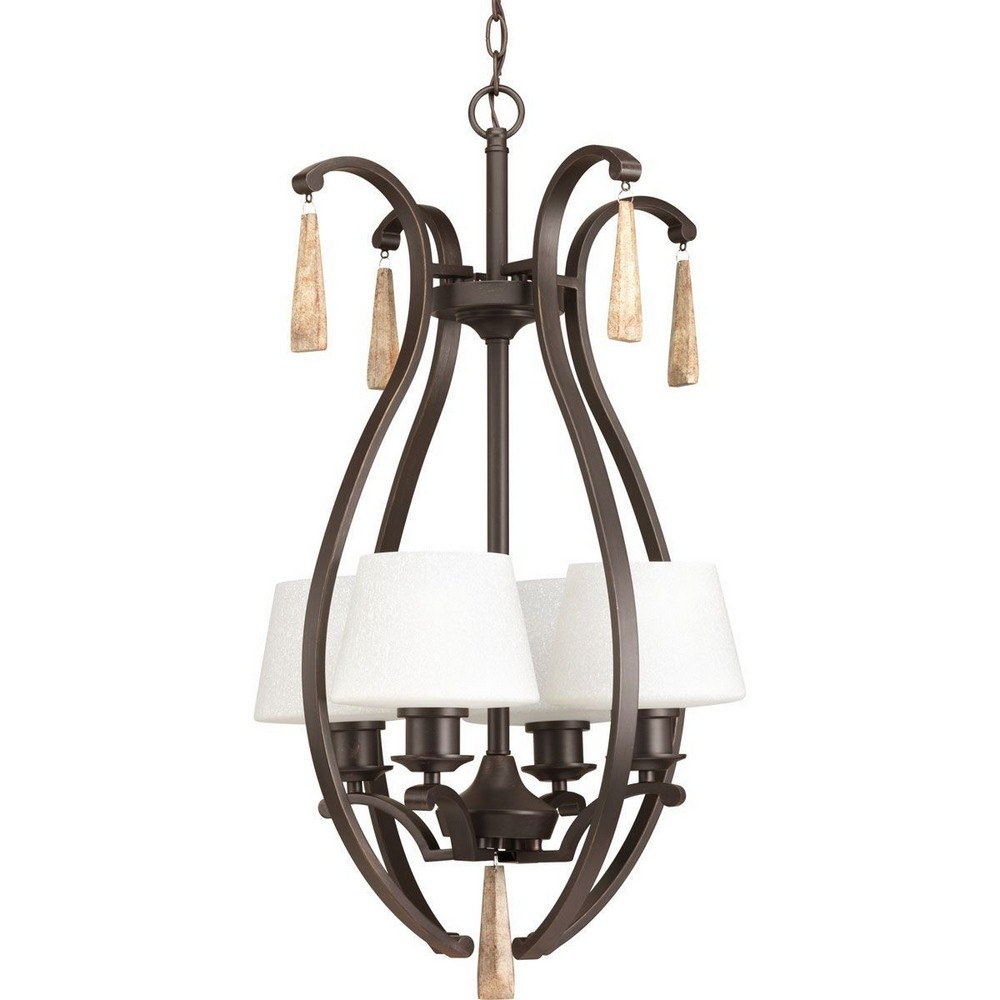 Progress Lighting-P3626-20-Club - Four Light Foyer  Antique Bronze Finish with Tea-Stained Glass