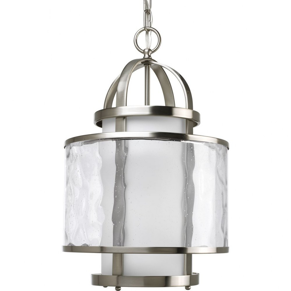 Progress Lighting-P3701-09-Bay Court - 11.75 Inch Width - 1 Light - Cylinder Shade - Line Voltage  Brushed Nickel Finish with Clear Ribbed Glass