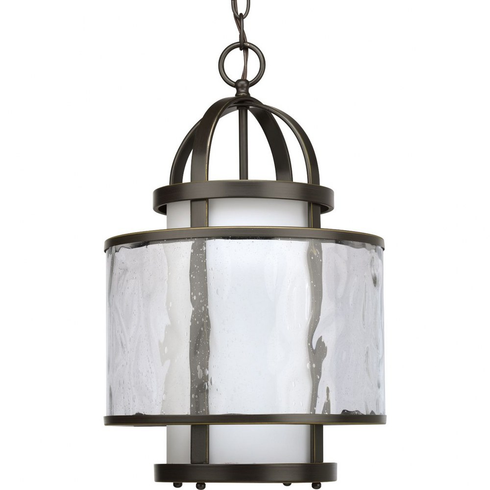 Progress Lighting-P3701-20-Bay Court - 11.75 Inch Width - 1 Light - Cylinder Shade - Line Voltage  Antique Bronze Finish with Clear Ribbed Glass