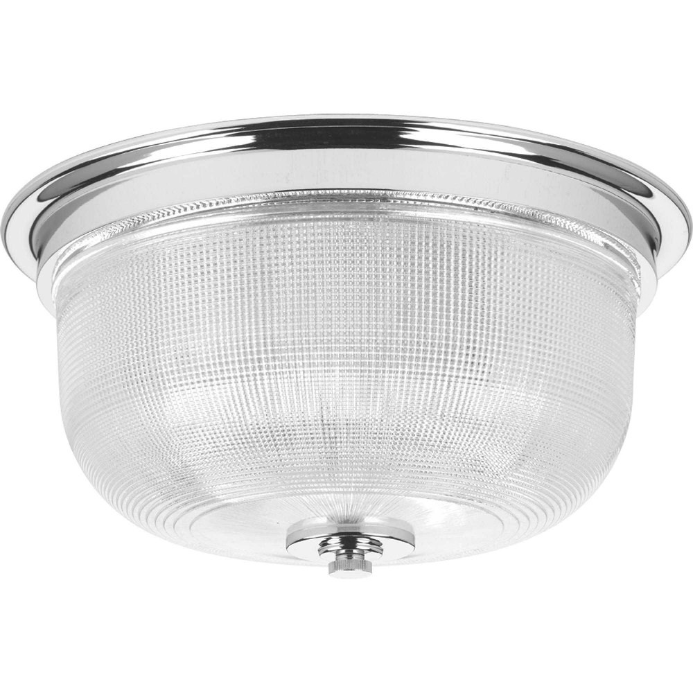Progress Lighting-P3740-15-Archie - 6.25 Inch Height - Close-to-Ceiling Light - 2 Light - Bowl Shade - Line Voltage - Damp Rated  Chrome Finish with Clear Prismatic Glass