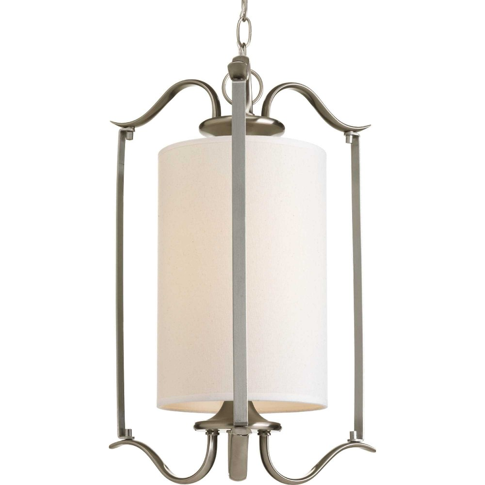 Progress Lighting-P3799-09-Inspire - 20.25 Inch Height - Pendants Light - 1 Light - Line Voltage  Brushed Nickel Finish with White Etched Glass
