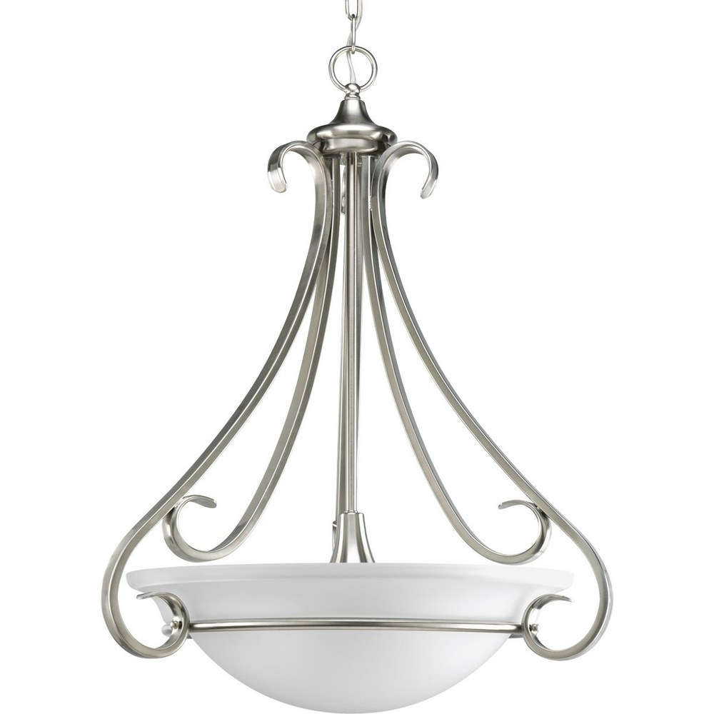 Progress Lighting-P3847-09-Torino - 22 Inch Width - 3 Light - Bowl Shade - Line Voltage  Brushed Nickel Finish with Etched Melon Glass