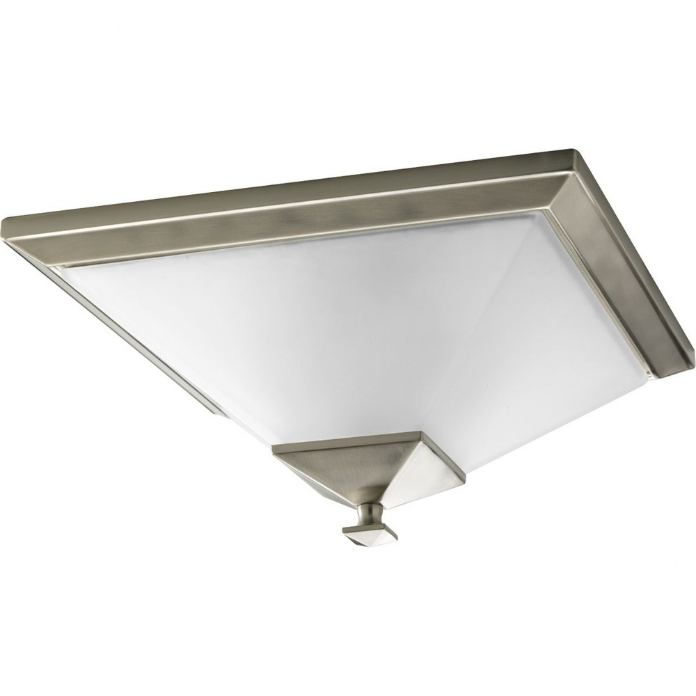 Progress Lighting-P3852-09-Clifton Heights - 7.125 Inch Height - Close-to-Ceiling Light - 2 Light - Line Voltage - Damp Rated  Brushed Nickel Finish with Etched Glass