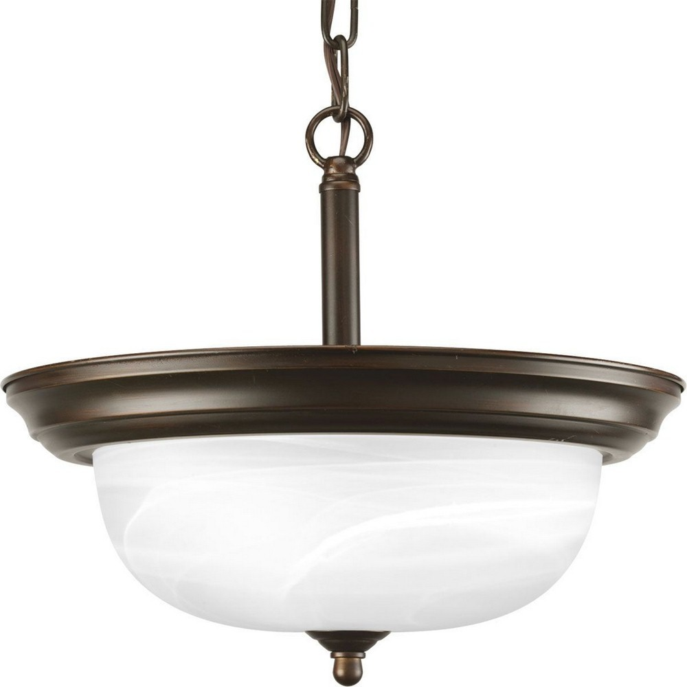 Progress Lighting-P3927-20-Dome Glass CTC - 11.3125 Inch Height - Close-to-Ceiling Light - 2 Light - Bowl Shade - Line Voltage  Antique Bronze Finish with Faux Rock Crystal Drops Glass
