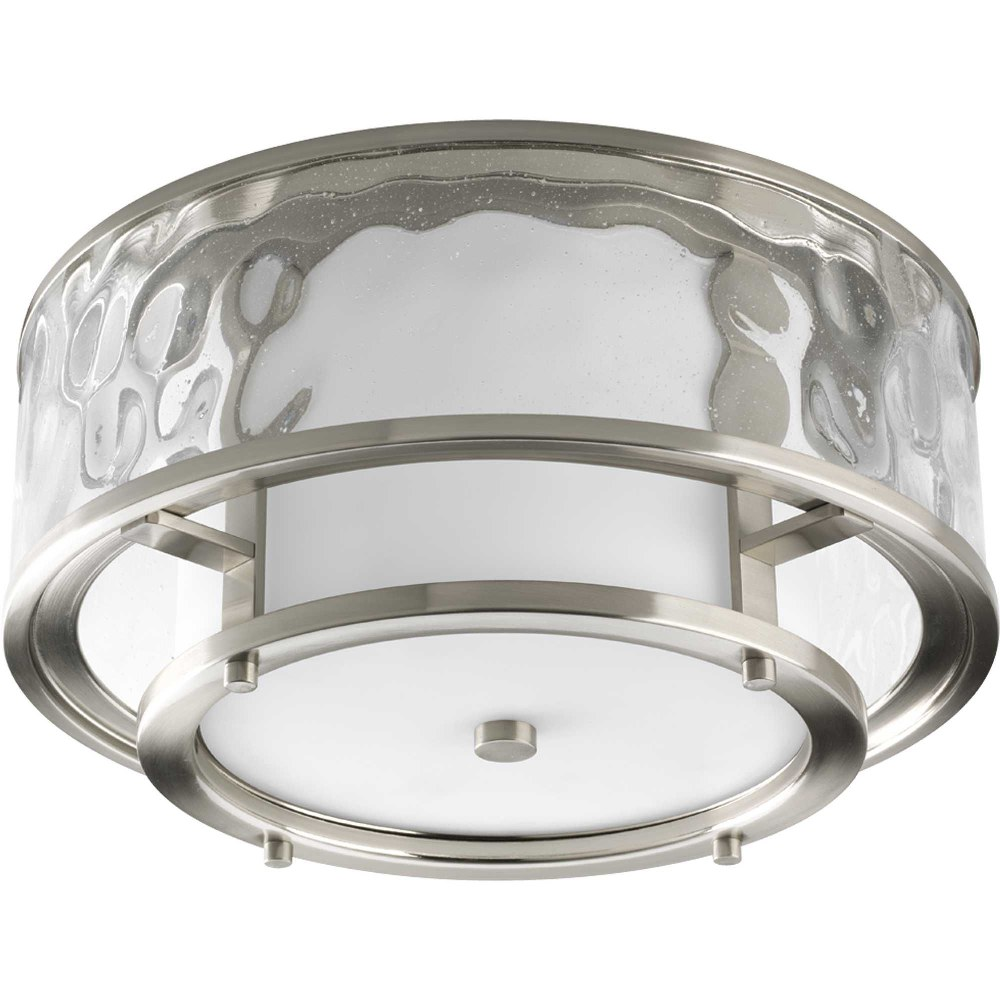 Progress Lighting-P3942-09-Bay Court - 7.375 Inch Height - Close-to-Ceiling Light - 2 Light - Cylinder Shade - Line Voltage - Damp Rated  Brushed Nickel Finish with Clear/Etched Opal Glass