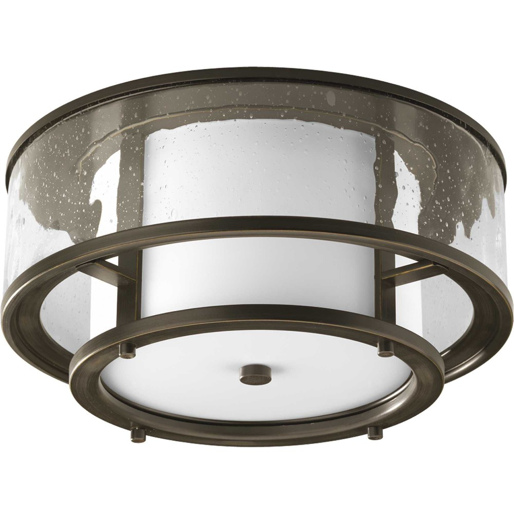 Progress Lighting-P3942-20-Bay Court - 7.375 Inch Height - Close-to-Ceiling Light - 2 Light - Cylinder Shade - Line Voltage - Damp Rated  Antique Bronze Finish with Clear/Etched Opal Glass