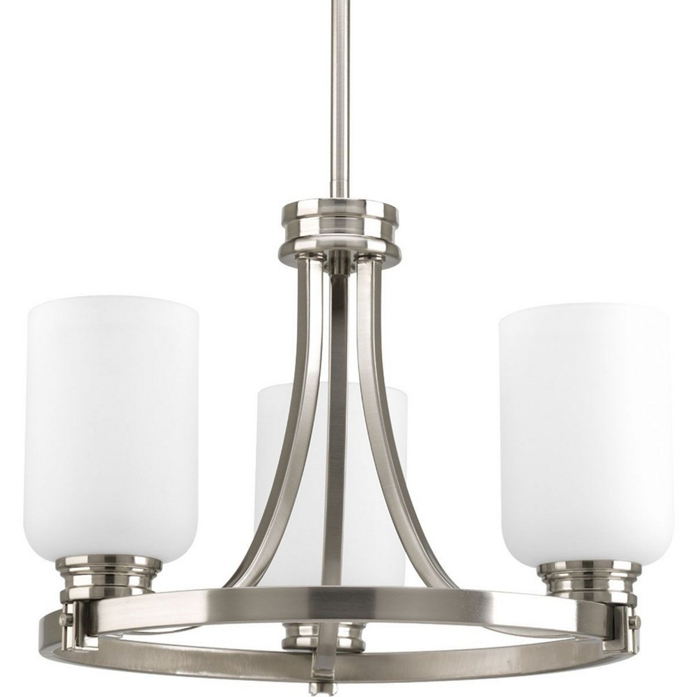 Progress Lighting-P3954-09-Orbitz - 12.25 Inch Height - Close-to-Ceiling Light - 3 Light - Line Voltage  Brushed Nickel Finish with Etched Opal Glass