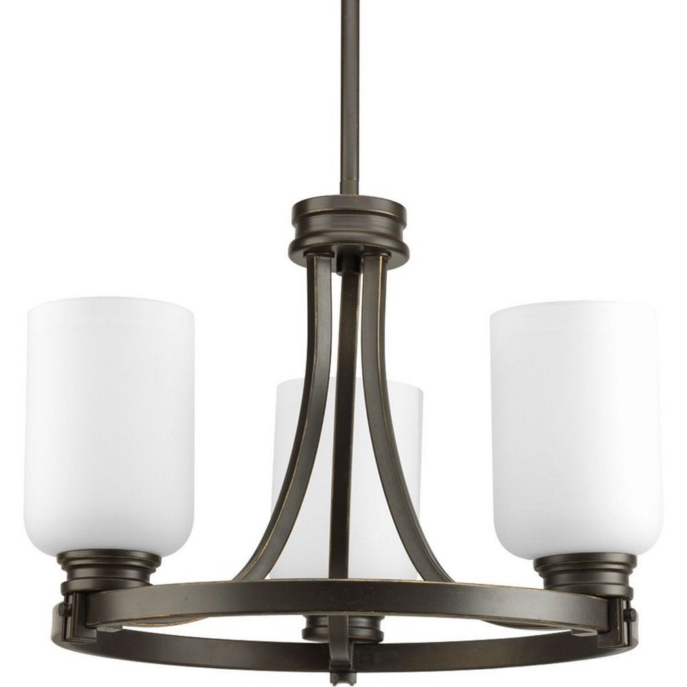 Progress Lighting-P3954-20-Orbitz - 12.25 Inch Height - Close-to-Ceiling Light - 3 Light - Line Voltage  Antique Bronze Finish with Etched Opal Glass