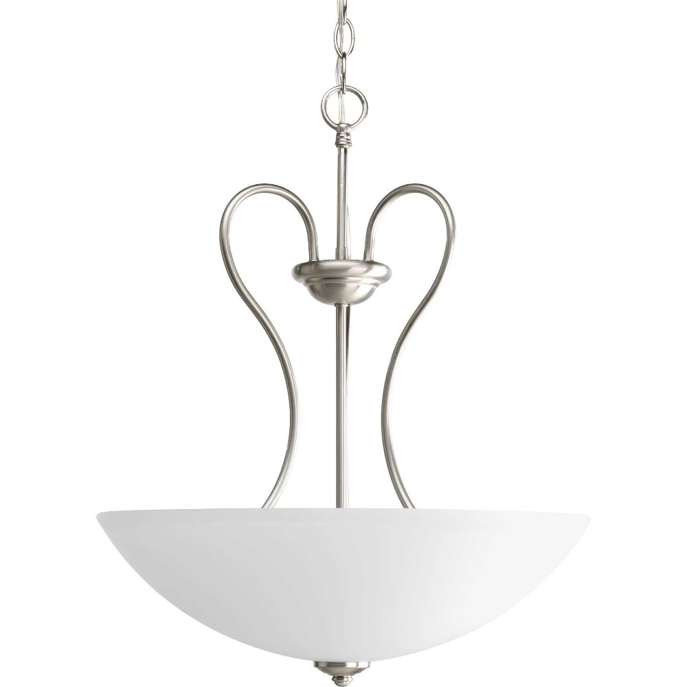 Progress Lighting-P3955-09-Heart - 17.75 Inch Width - 3 Light - Bowl Shade - Line Voltage  Brushed Nickel Finish with Etched Glass