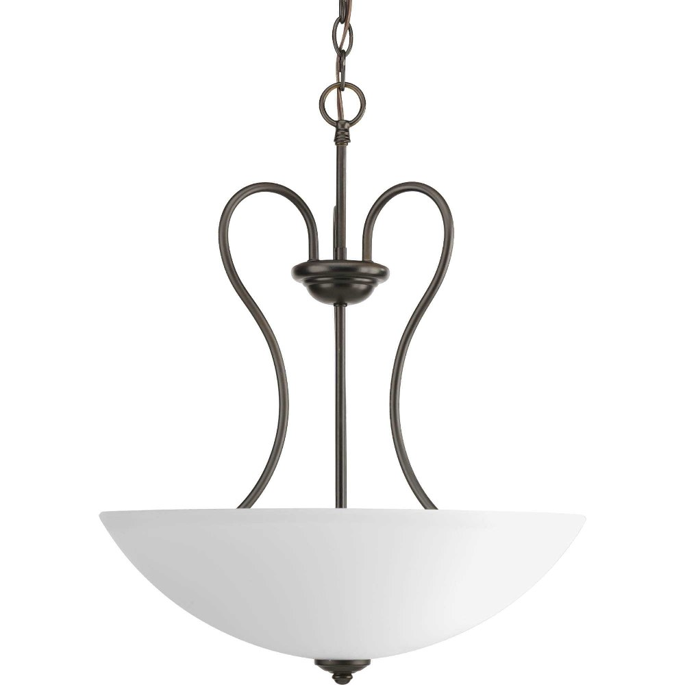 Progress Lighting-P3955-20-Heart - 17.75 Inch Width - 3 Light - Bowl Shade - Line Voltage  Antique Bronze Finish with Etched Glass