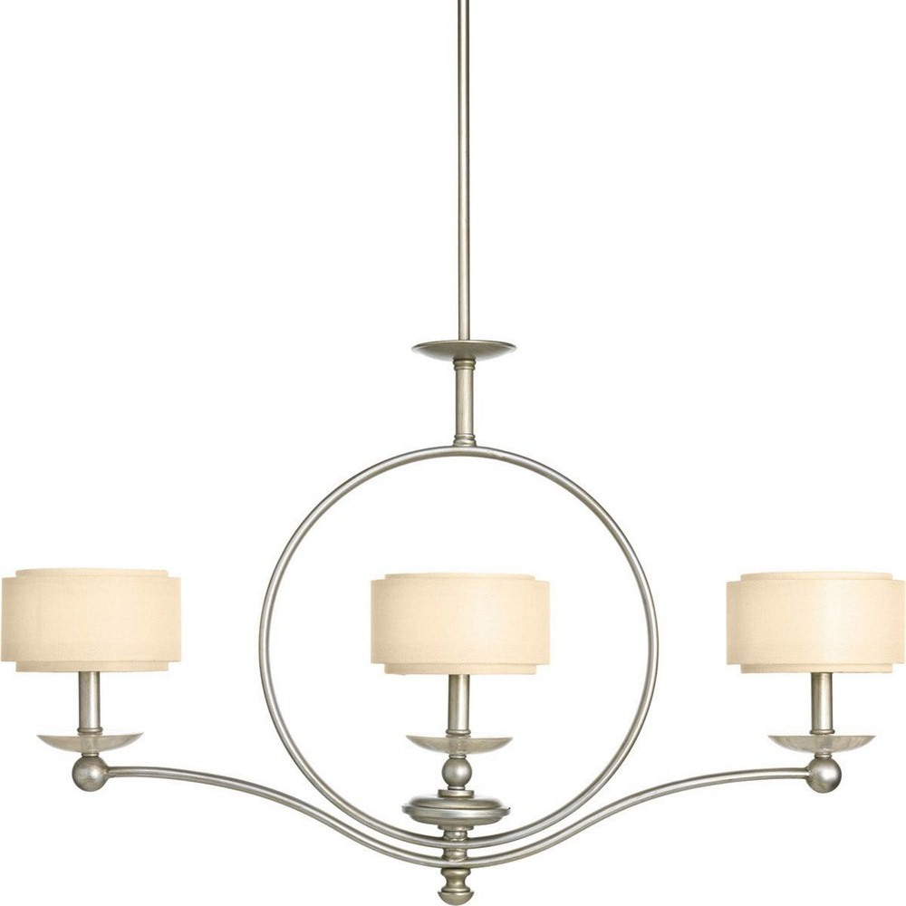 Progress Lighting-P4349-134-Ashbury - Three Light Linear Chandelier  Silver Ridge Finish with Toasted Linen Shade