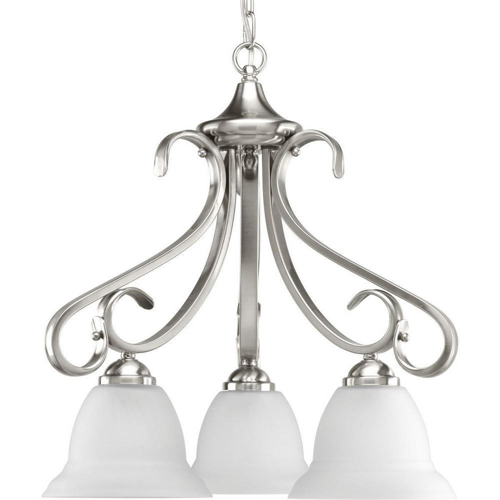 Progress Lighting-P4405-09-Torino - 21.625 Inch Height - Chandeliers Light - 3 Light - Line Voltage  Brushed Nickel Finish with Etched White Glass
