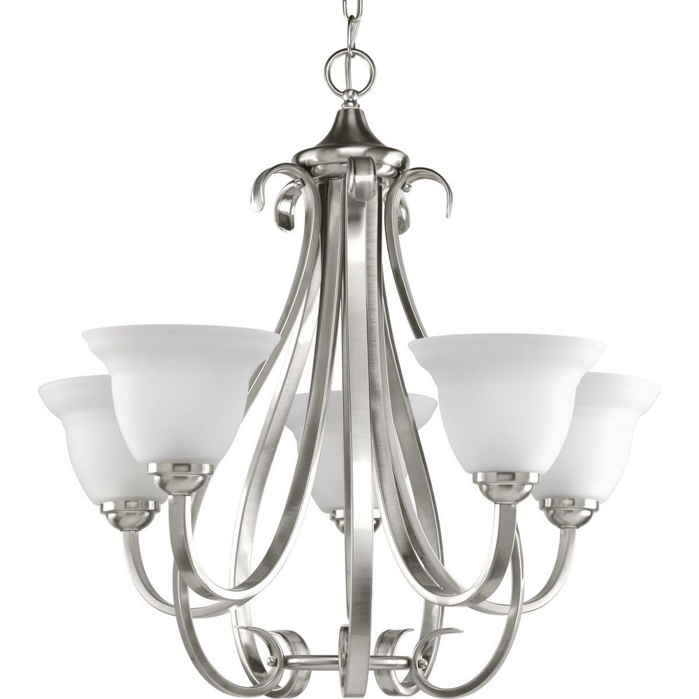 Progress Lighting-P4416-09-Torino - 24.75 Inch Height - Chandeliers Light - 5 Light - Line Voltage  Brushed Nickel Finish with Etched White Glass