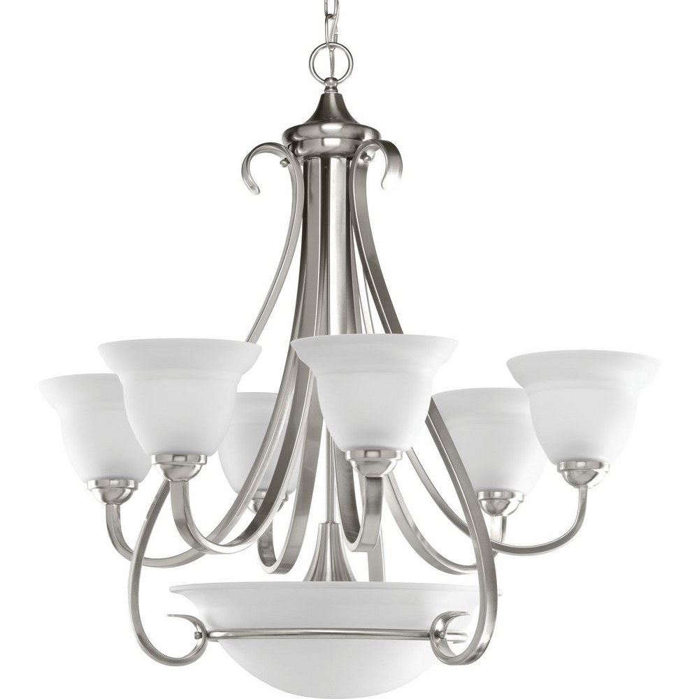 Progress Lighting-P4417-09-Torino - 29.875 Inch Height - Chandeliers Light - 6 Light - Line Voltage  Brushed Nickel Finish with Etched White Glass