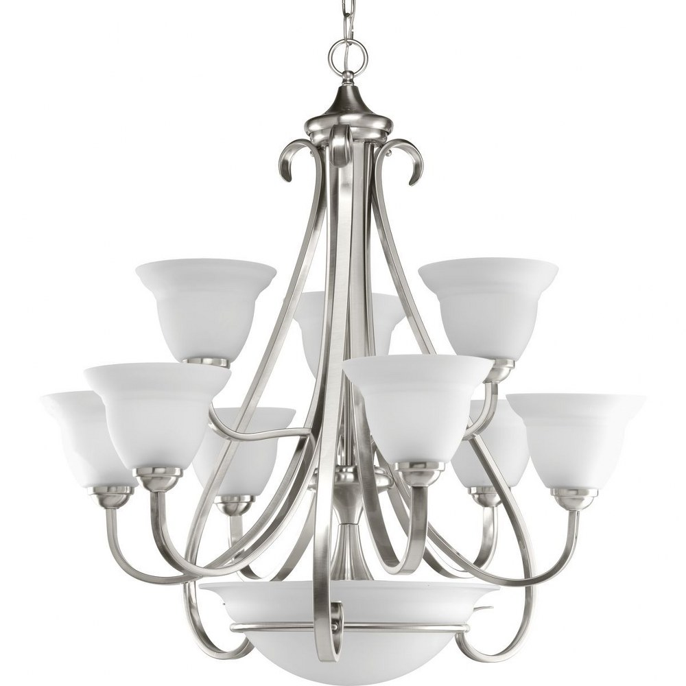 Progress Lighting-P4418-09-Torino - 33.125 Inch Height - Chandeliers Light - 9 Light - Line Voltage  Brushed Nickel Finish with Etched White Glass
