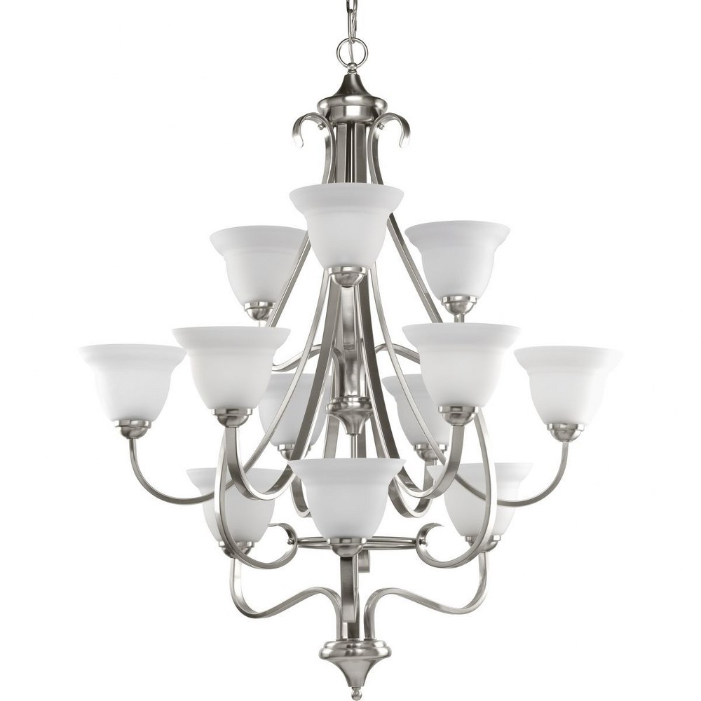 Progress Lighting-P4419-09-Torino - 34 Inch Width - 12 Light - Line Voltage  Brushed Nickel Finish with Etched White Glass