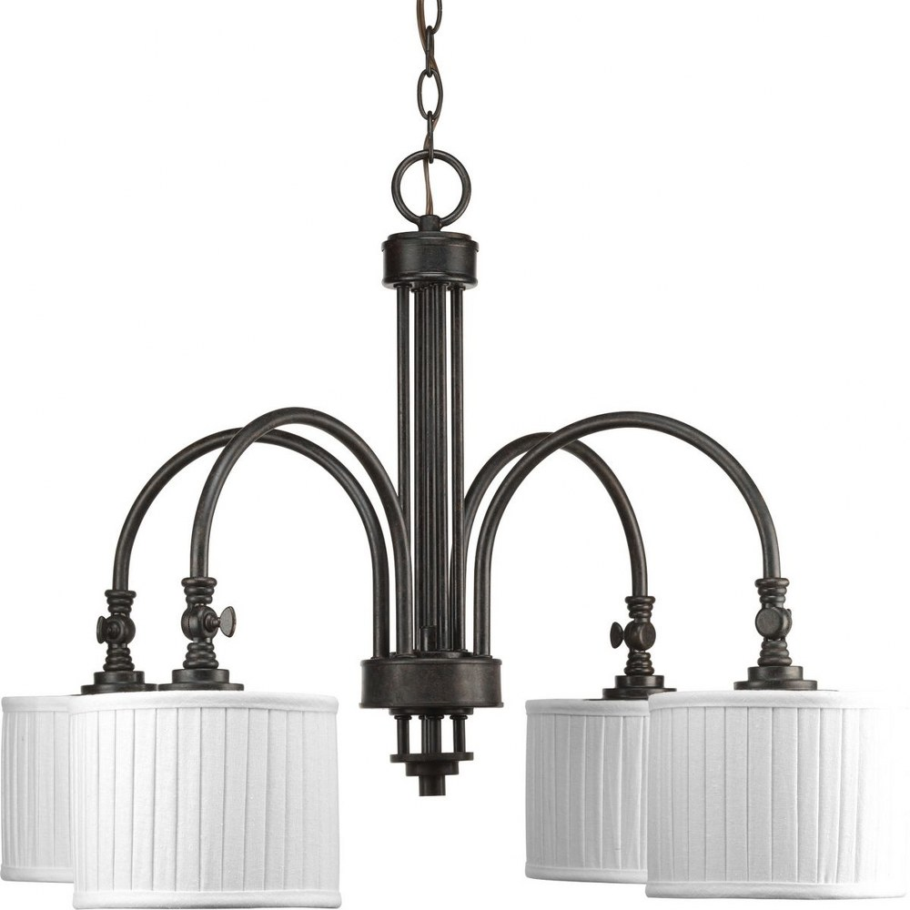 Progress Lighting-P4421-84-Clayton - Four Light Chandelier - Chandelier  Espresso Finish withCream Linen Fabric Shade