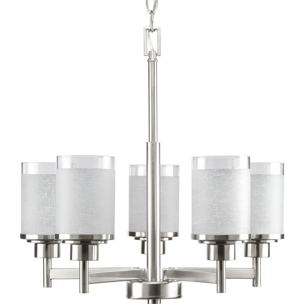 Progress Lighting-P4459-09-Alexa - 19.75 Inch Height - Chandeliers Light - 5 Light - Line Voltage  Brushed Nickel Finish with White Linen Glass