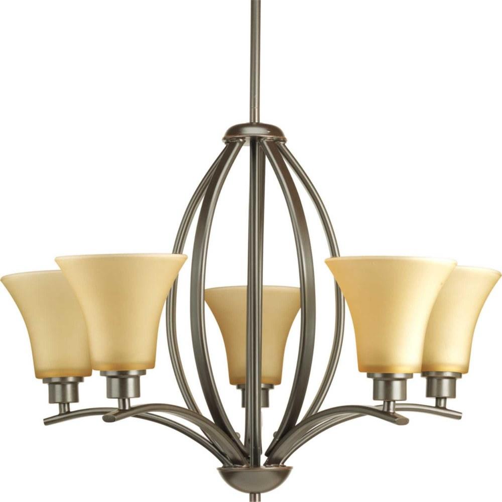 Progress Lighting-P4490-20-Joy - Five Light Chandelier  Antique Bronze Finish with Etched Umber Linen Glass