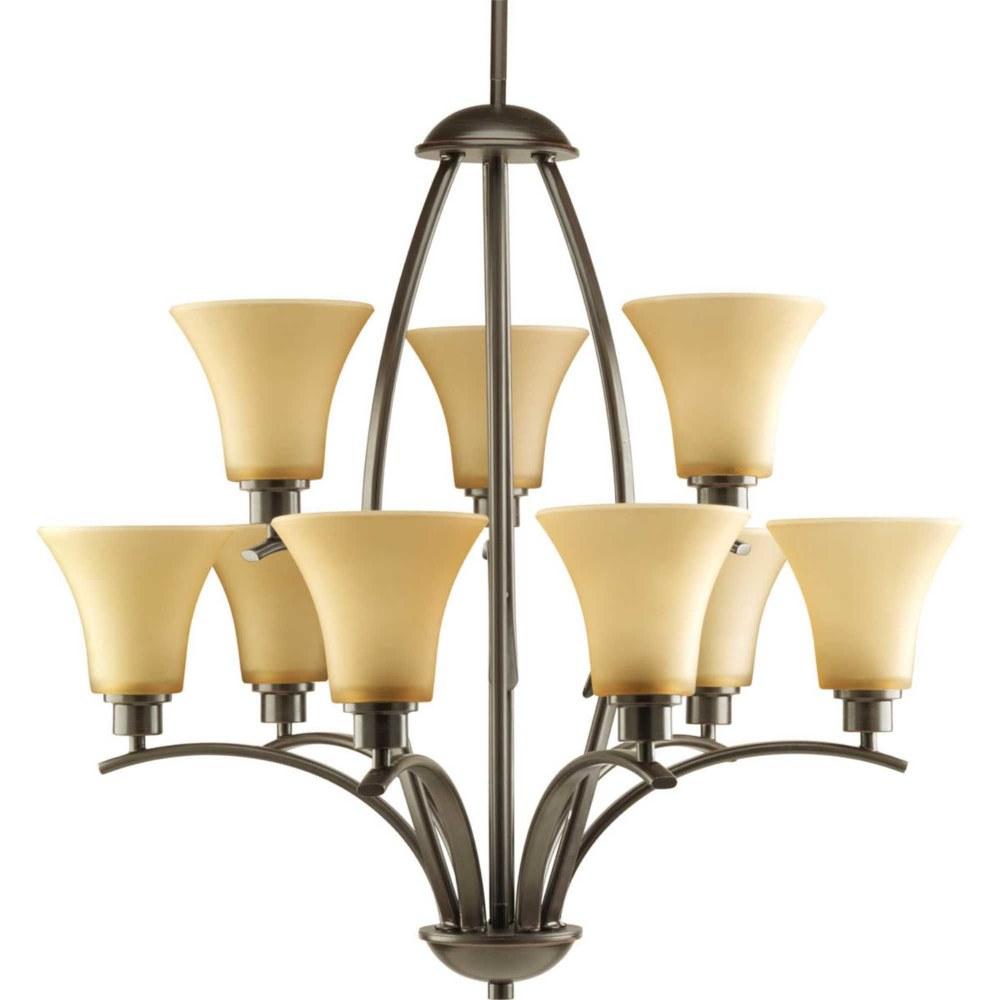 Progress Lighting-P4492-20-Joy - Nine Light 2-Tier Chandelier  Antique Bronze Finish with Etched Umber Linen Glass