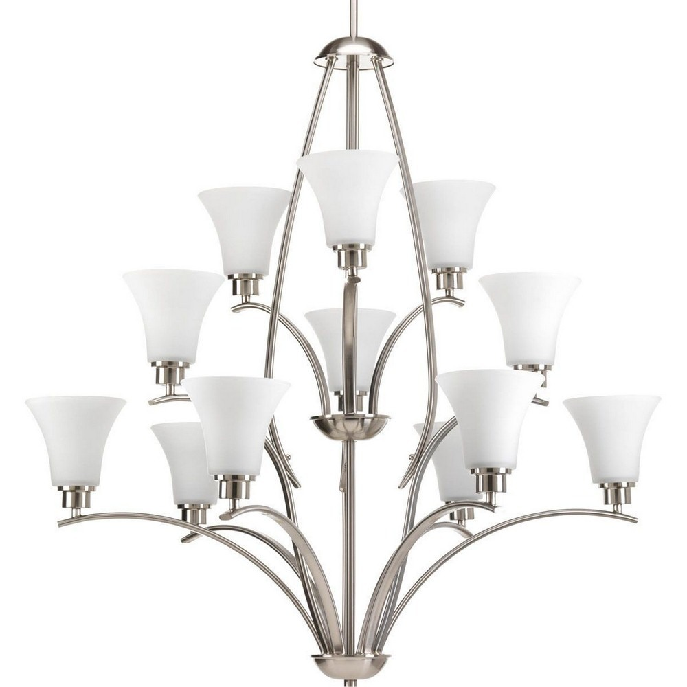 Progress Lighting-P4497-09-Joy - 39.625 Inch Height - Chandeliers Light - 12 Light - Line Voltage  Brushed Nickel Finish with Etched Glass