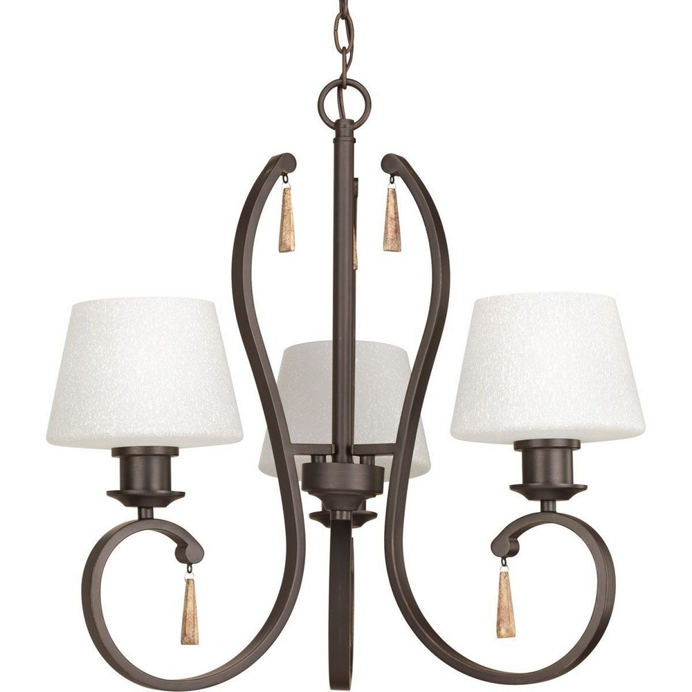Progress Lighting-P4527-20-Club - Three Light Chandelier  Antique Bronze Finish with Tea-Stained Glass