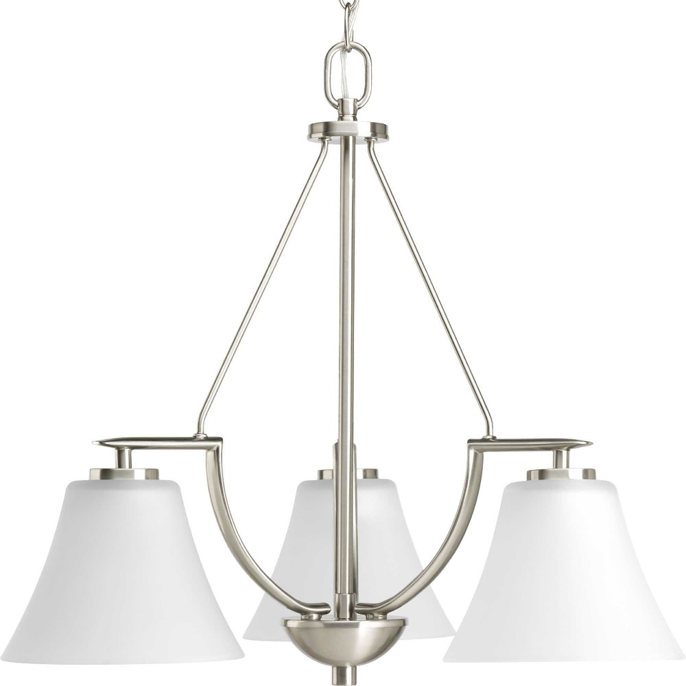 Progress Lighting-P4621-09-Bravo - 20.125 Inch Height - Chandeliers Light - 3 Light - Line Voltage  Brushed Nickel Finish with White Etched Glass