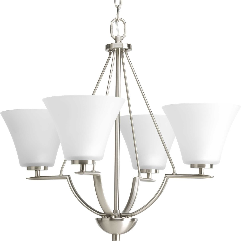 Progress Lighting-P4622-09-Bravo - 21 Inch Height - Chandeliers Light - 4 Light - Line Voltage  Brushed Nickel Finish with White Etched Glass