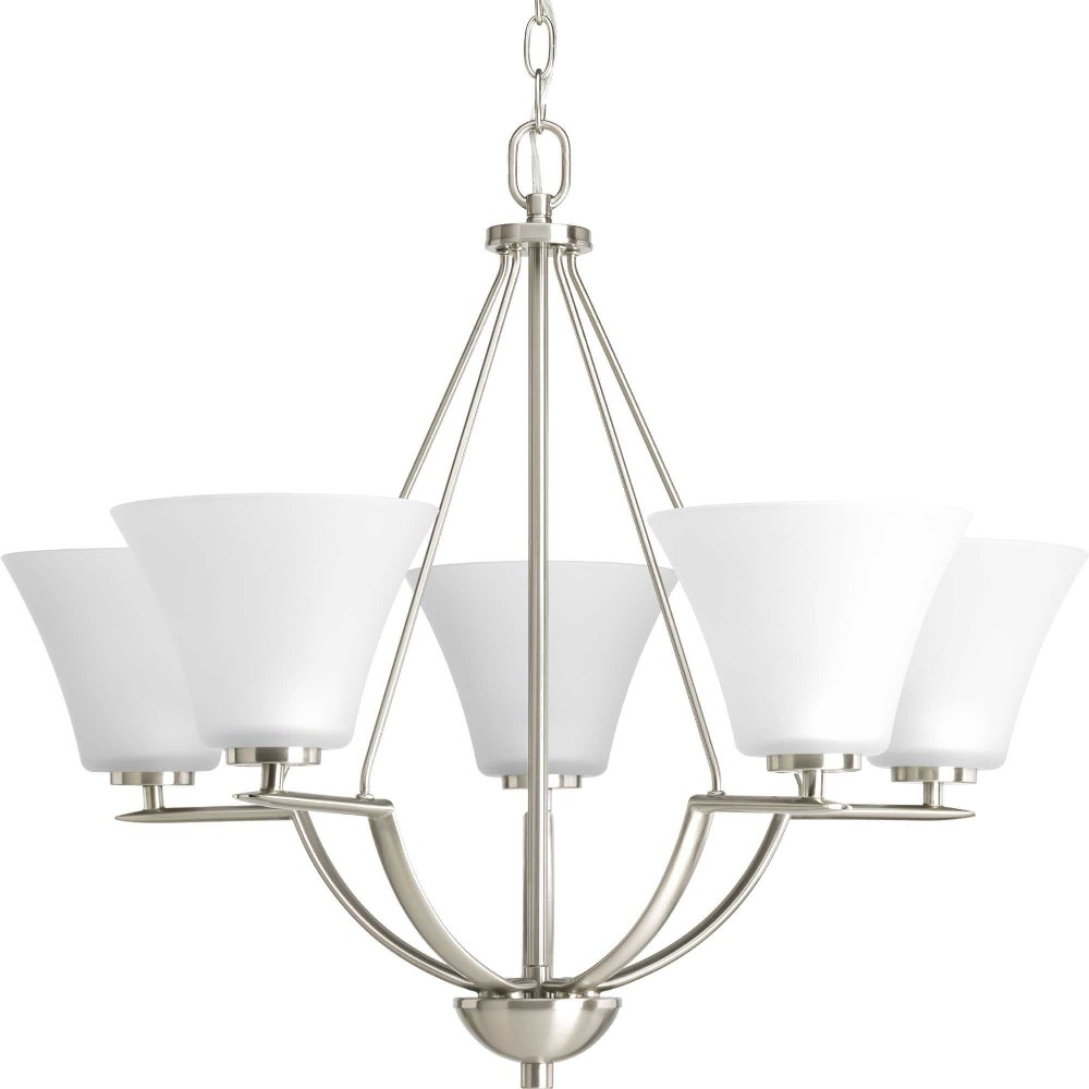 Progress Lighting-P4623-09-Bravo - 23 Inch Height - Chandeliers Light - 5 Light - Line Voltage  Brushed Nickel Finish with White Etched Glass