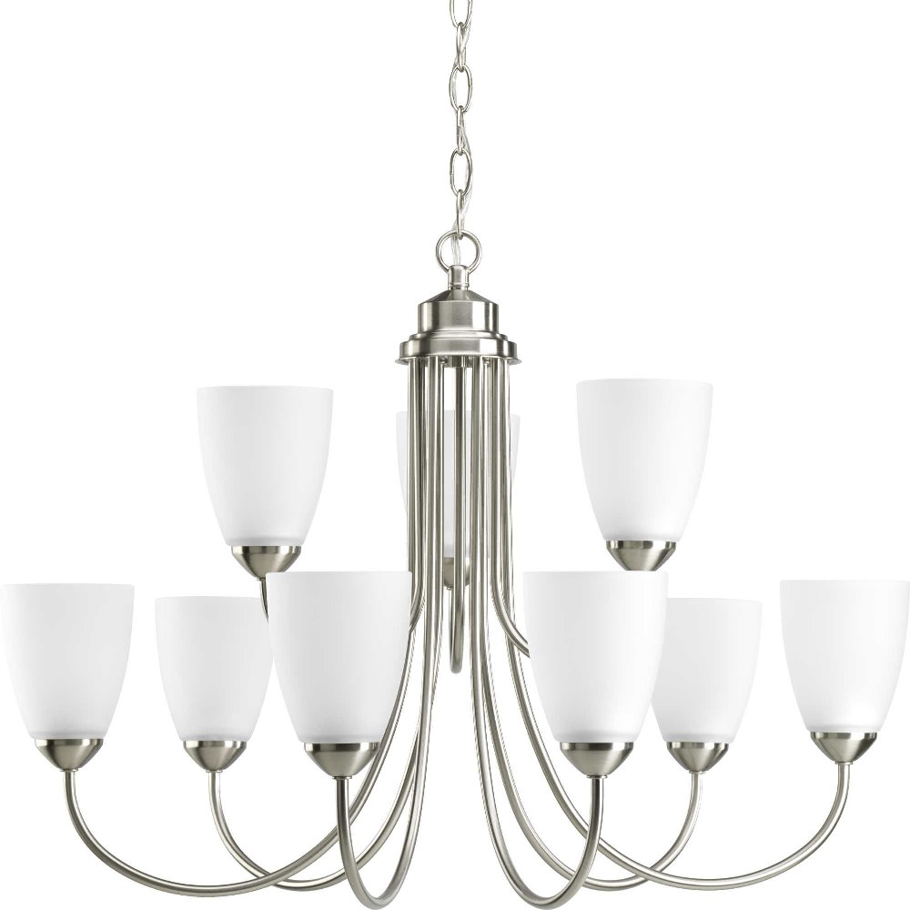 Progress Lighting-P4627-09-Gather - 20.5 Inch Height - Chandeliers Light - 9 Light - Line Voltage  Brushed Nickel Finish with Etched Glass