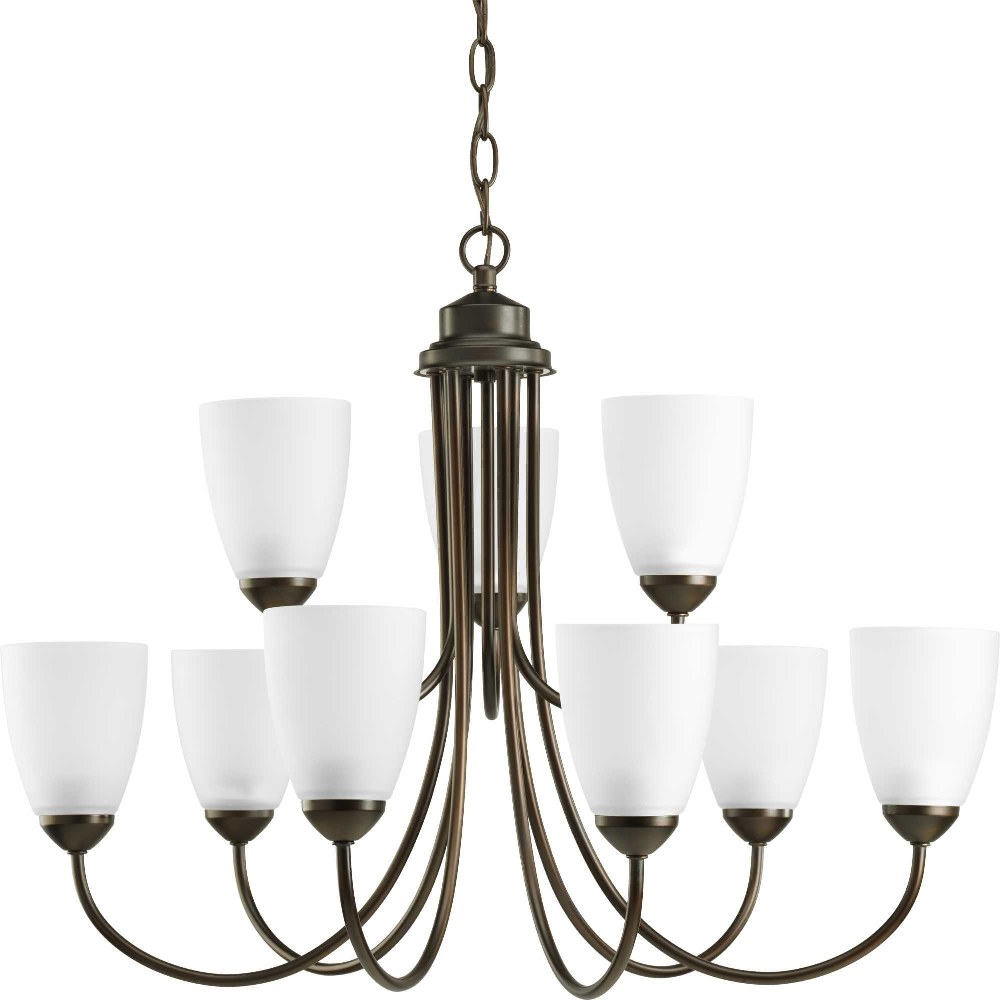Progress Lighting-P4627-20-Gather - 20.5 Inch Height - Chandeliers Light - 9 Light - Line Voltage  Antique Bronze Finish with Etched Glass