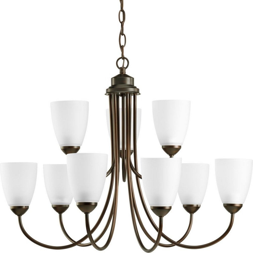 Progress Lighting-P4627-20EBWB-Gather - Nine Light 2-Tier Chandelier  Antique Bronze Finish with Etched Glass