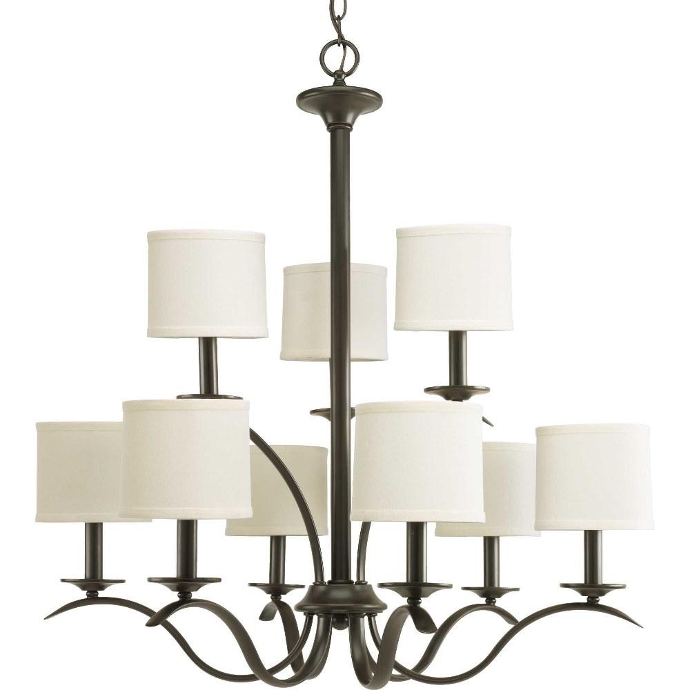 Progress Lighting-P4638-20-Inspire - 31 Inch Height - Chandeliers Light - 9 Light - Drum Shade - Line Voltage  Antique Bronze Finish withWhite Linen Shade