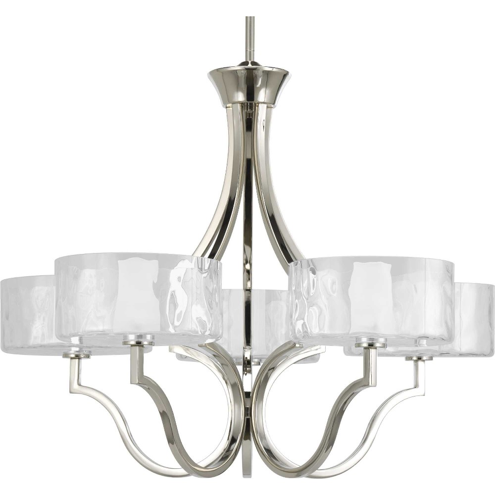 Progress Lighting-P4645-104WB-Caress - 22 Inch Height - Chandeliers Light - 5 Light - Line Voltage  Polished Nickel Finish with Etched Glass