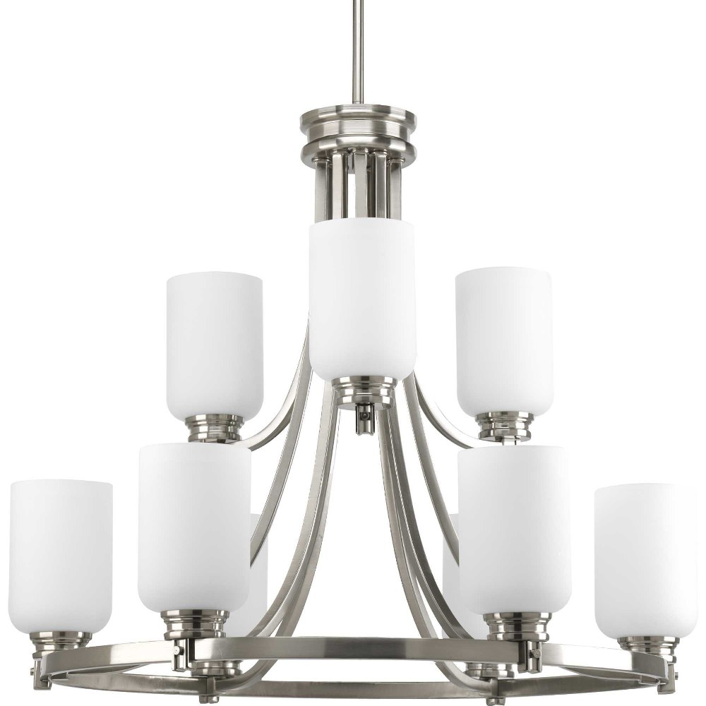 Progress Lighting-P4663-09-Orbitz - 23.75 Inch Height - Chandeliers Light - 9 Light - Line Voltage  Brushed Nickel Finish with Etched Opal Glass