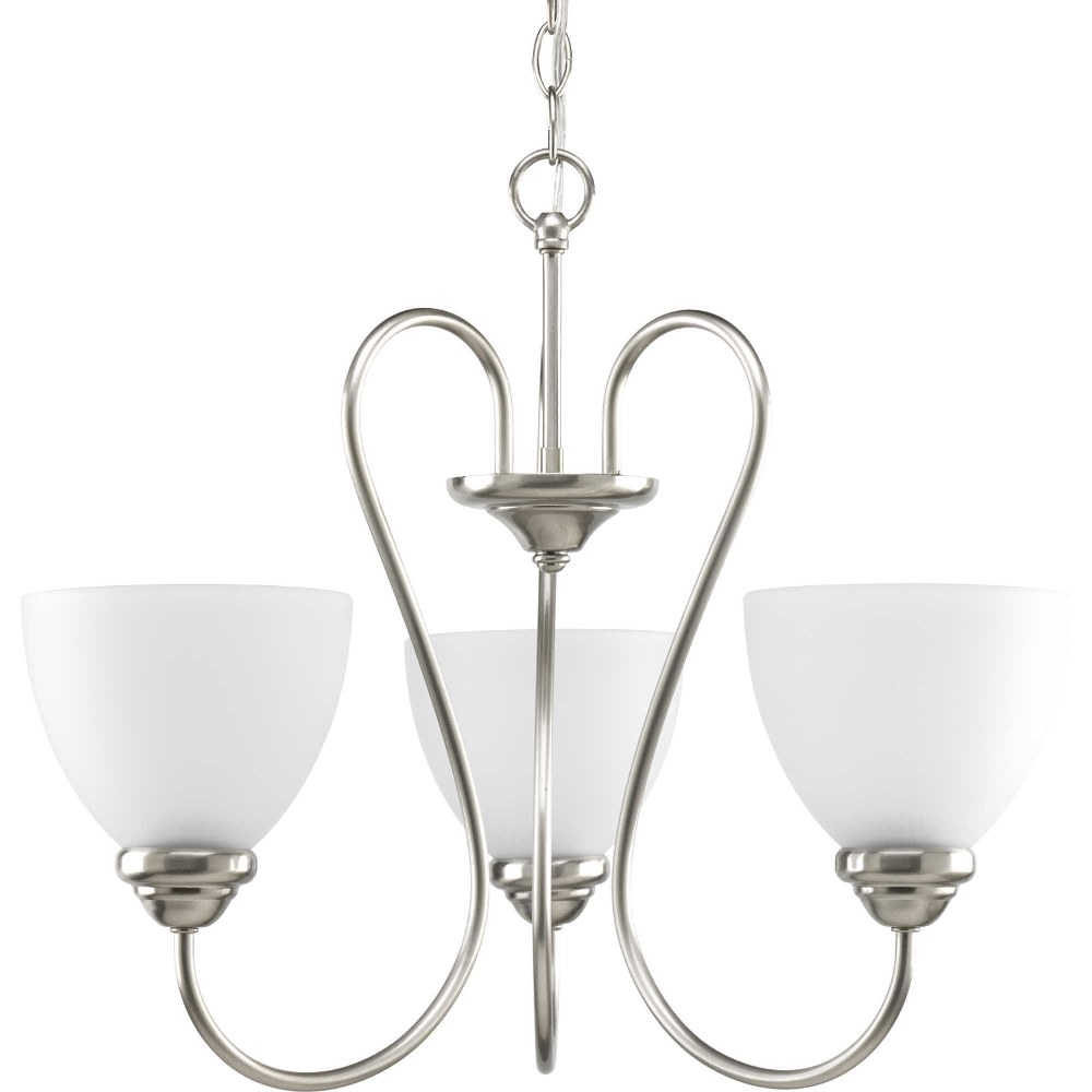 Progress Lighting-P4664-09-Heart - 18 Inch Height - Chandeliers Light - 3 Light - Line Voltage  Brushed Nickel Finish with Etched Opal Glass