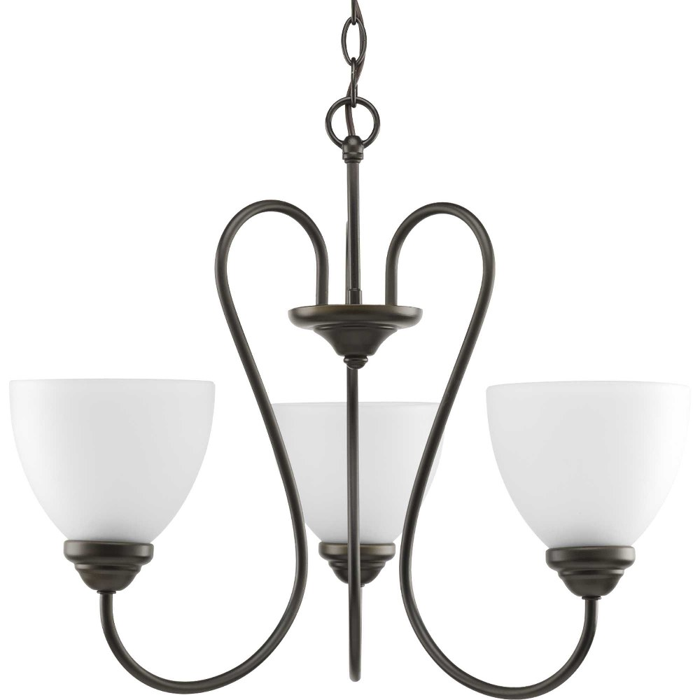 Progress Lighting-P4664-20-Heart - 18 Inch Height - Chandeliers Light - 3 Light - Line Voltage  Antique Bronze Finish with Etched Opal Glass