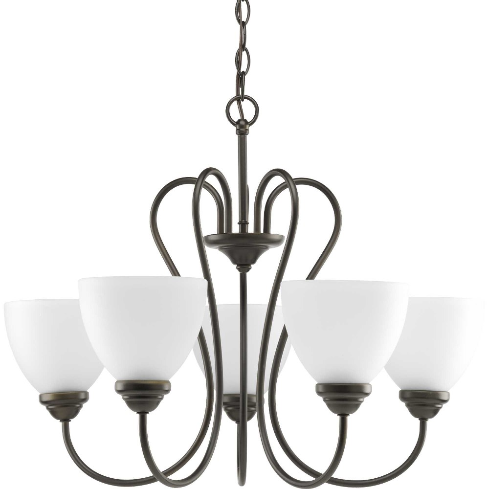 Progress Lighting-P4666-20-Heart - 19.125 Inch Height - Chandeliers Light - 5 Light - Line Voltage  Antique Bronze Finish with Etched Opal Glass