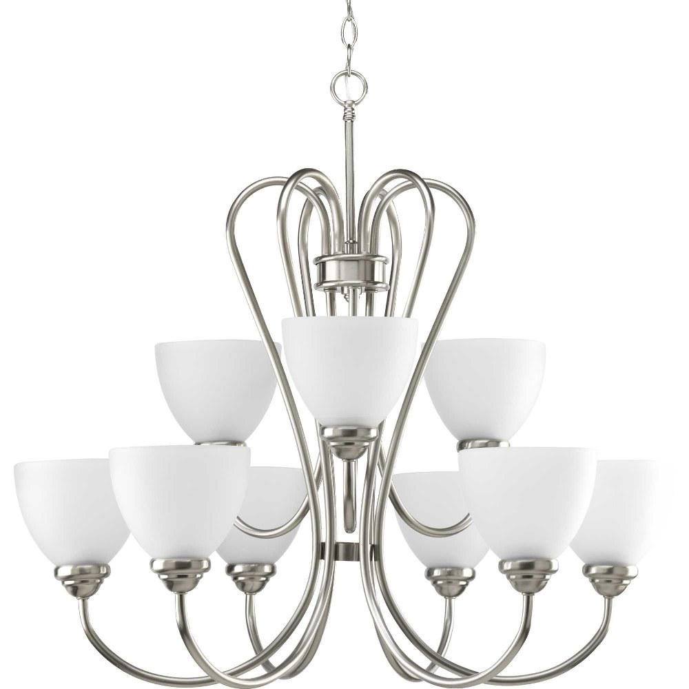 Progress Lighting-P4668-09-Heart - 27.75 Inch Height - Chandeliers Light - 9 Light - Line Voltage  Brushed Nickel Finish with Etched Opal Glass