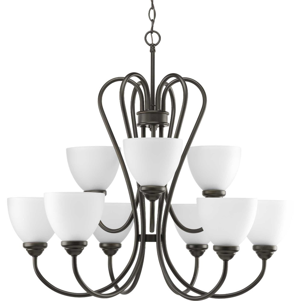 Progress Lighting-P4668-20-Heart - 27.75 Inch Height - Chandeliers Light - 9 Light - Line Voltage  Antique Bronze Finish with Etched Opal Glass